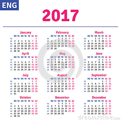 Calendar 2017 Stock Photos