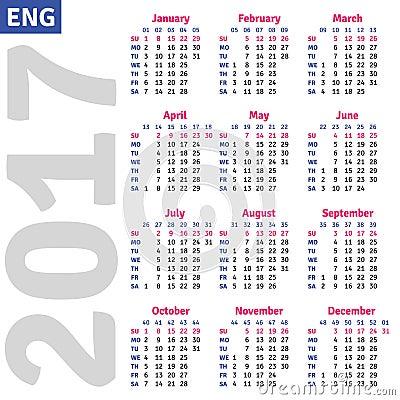 English Template Wall Quarterly Calendar 2017 Stock Vector - Image ...