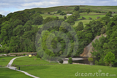 English countryside landscape: hills, trees, path