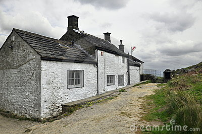 English countryside landscape: old house, clouds