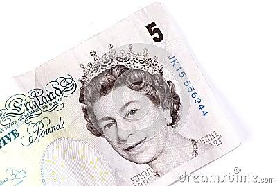 English five pound note Editorial Photo