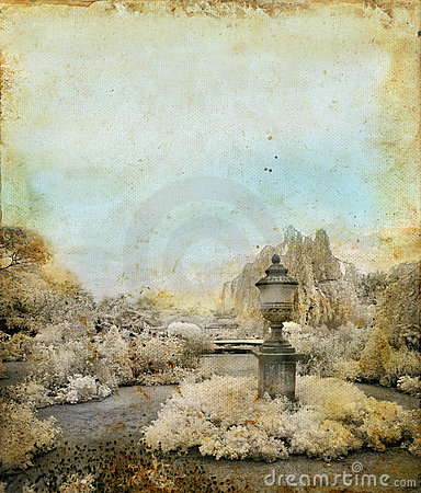 English Garden on a grunge background
