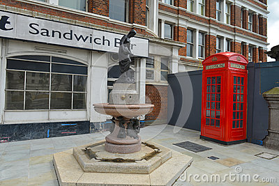 English historic corner with telephone box