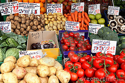 English market vegetable stall