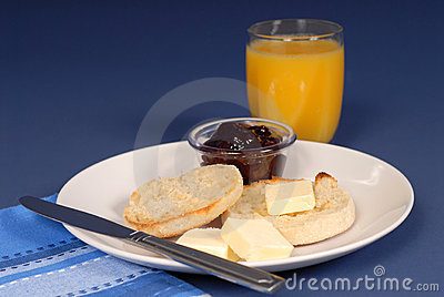 English muffin jam, juice