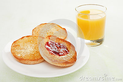 English Muffin with Jam and Orange Juice