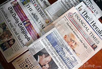 English newspapers Editorial Stock Image
