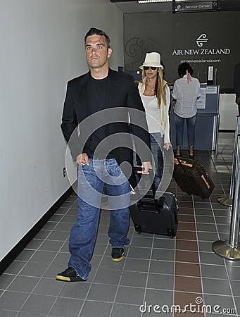 English popstar Robbie Williams at LAX Editorial Stock Image