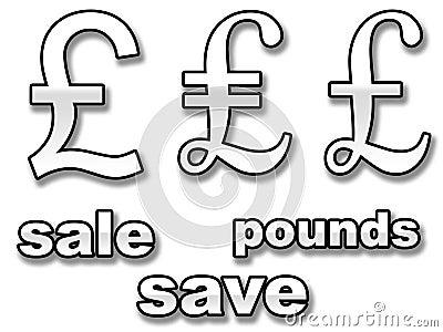 English pound sale signs