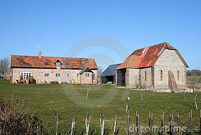 English Rural Farmhouse and Barn