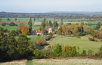 An English Rural Landscape in Autumn with footpath