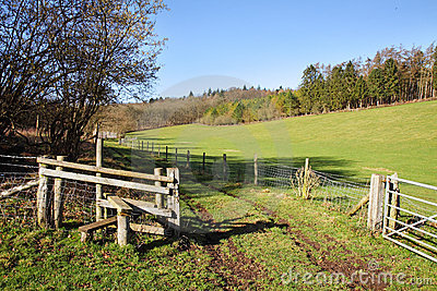 English Rural Landscape with Stile by a Farm Track