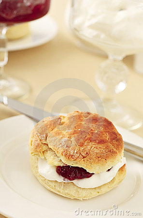 English scone with cream and jam