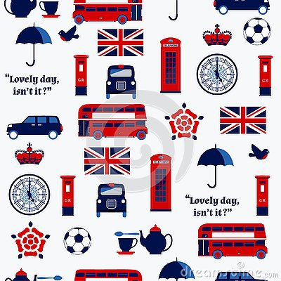 English symbols: taxi, post box, telephone, teapot and cup ,Double Decker Bus, lamp. Stock Photo