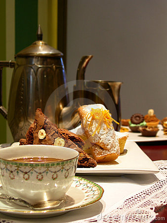 English tea with bakery muffin