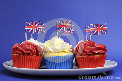 English theme red, white and blue cupcakes with Great Britain Union Jack flags