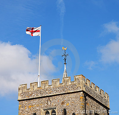 English Village Church Tower with Flag