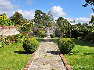 An English Walled Garden with Path