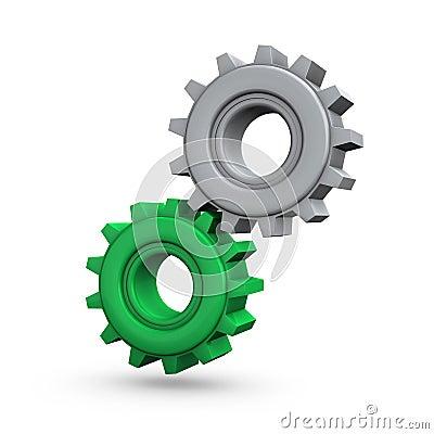 Engranajes grises verdes