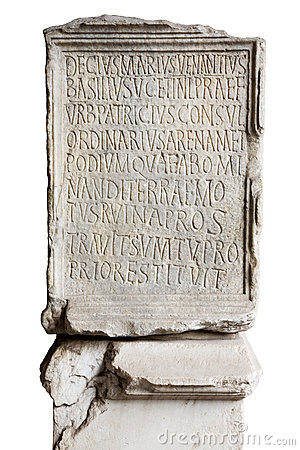 Engraved stone in Coliseum