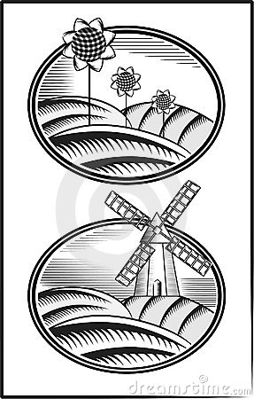 Engraving. The mill and the field A