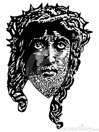 Engraving style portrait of Jesus Christ