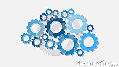 Engrenagens azuis Ideia ou conceito da solução ilustração stock