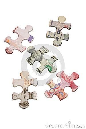 Enigmas de serra de vaivém e moedas principais do mundo