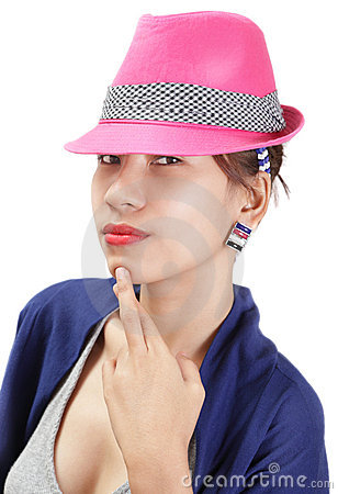 Enigmatic girl portrait w hat