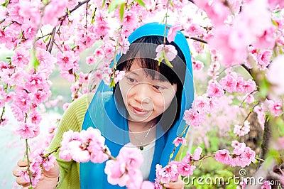 Enjoy the flower woman