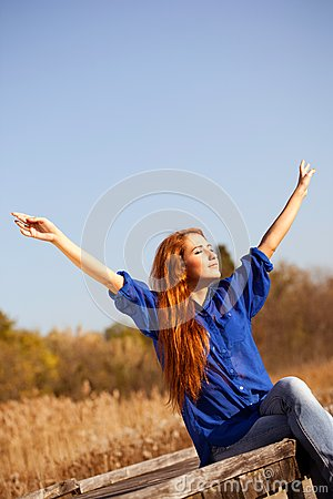 Enjoy The Life, Beautiful Woman With Raised Hands
