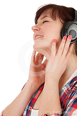 Enjoy music fat girl in headphones