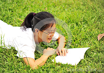 Enjoy reading on grass