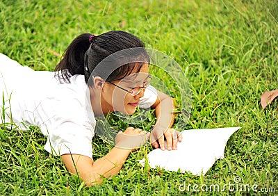 Enjoy reading on grass