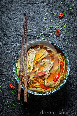Free Enjoy Your Red Curry Soup With Chopsticks Stock Photography - 98622342