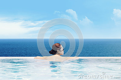 Enjoying ocean view from the infinity pool