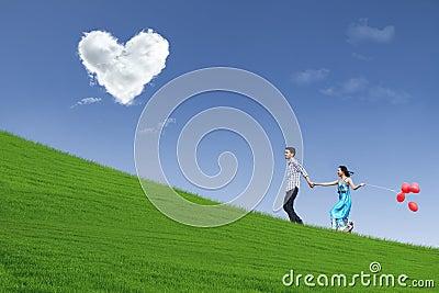 Enjoying Valentine day together in park