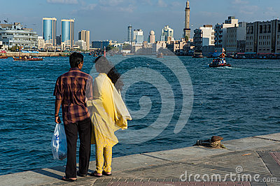 Enjoying the view of Dubai Creek Editorial Stock Photo