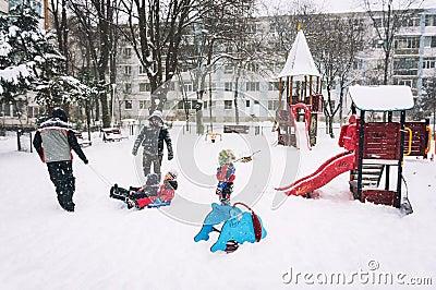 Enjoying winter in park Editorial Photo
