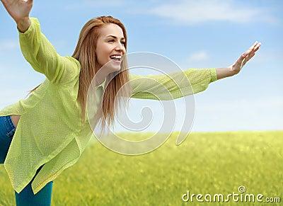 Enjoyment. Free Happy Woman Enjoying Nature. Beauty Girl Outdoor