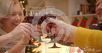 Enschließende Weinklink-Brille Abendessen Großmutter Familienabend Weihnachtsbaum Komfort Essen Essen stock footage
