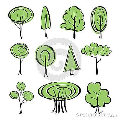 Ensemble abstrait de croquis d 39 arbres photos stock image - Croquis arbre ...