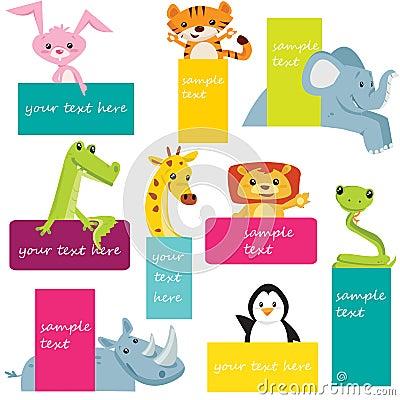 Ensemble d étiquettes animales
