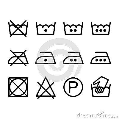Ensemble d 39 ic nes de blanchisserie d 39 instruction symboles - Instructions de lavage symboles ...