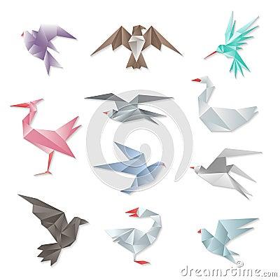 Ensemble d 39 oiseau d 39 origami dirigez les oiseaux de vol 3d de papier abstraits avec des ailes sur - Animaux origami 3d ...