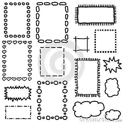 ensemble de cadres de dessin de main illustration de. Black Bedroom Furniture Sets. Home Design Ideas