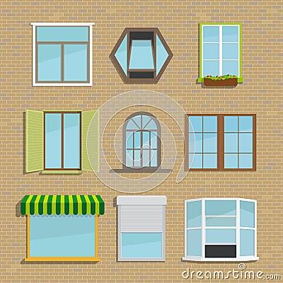 Ensemble de diff rents types fen tres d 39 ic nes illustration de vecteur - Differents types de ventilation ...