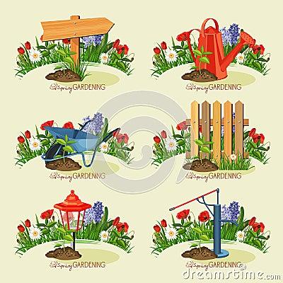 ensemble de jardinier de carte jardinage de source illustration de vecteur image 51185238. Black Bedroom Furniture Sets. Home Design Ideas