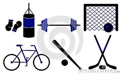 Ensemble de matériel sportif. Illustration de vecteur.