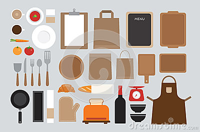 ensemble de moquerie vers le haut de conception plate d 39 outil de cuisine illustration de vecteur. Black Bedroom Furniture Sets. Home Design Ideas